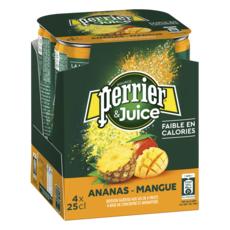 PERRIER Juice eau gazeuse aromatisée ananas mangue boîtes 4x25cl