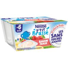 Nestlé NESTLE P'tit brassé petit pot dessert lacté banane fraise dès 6 mois