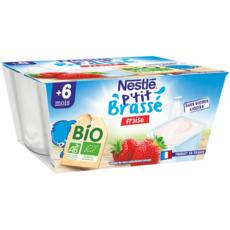 NESTLE P'tit brassé petit pot dessert lacté fraise bio dès 6 mois 4x90g