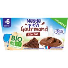 NESTLE P'tit brassé petit pot dessert lacté cacao bio dès 6 mois 4x90g