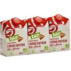 AUCHAN BIO Crème fluide entière 30% MG UHT Filière Responsable 3x20cl