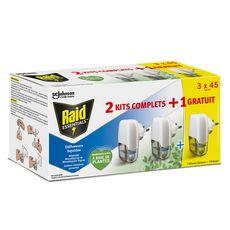RAID Diffuseurs électrique liquides répulsif moustiques et moustiques tigres    3x 45 nuits 2kits complets +1 gratuit