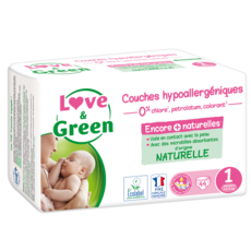 LOVE ET GREEN Couches écologiques taille 1 (2-5kgs) 44 couches