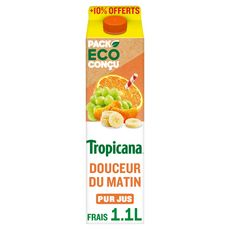 TROPICANA Pur jus 4 fruits pressés douceur du matin +10% offert 1l