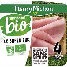 FLEURY MICHON Simplement Bio Jambon blanc supérieur sans couenne 4 tranches 120g