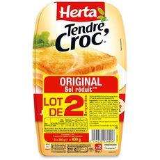 HERTA Herta Tendre Croc' Croque-monsieur fromage jambon sel réduit lot de 2 400g