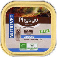 PHYSYO Terrine sans céréales bio pour chien adultes 150g