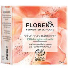 FLORENA Crème de jour anti-rides 99% d'origine naturelle 50ml