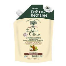 LE PETIT OLIVIER Recharge shampooing crème soin nutrition huiles d'olive karité et d'argan cheveux secs et abîmés 500ml