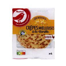 AUCHAN Pause snack crêpes moelleuses à la vanille 4 crêpes 60g