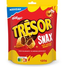 KELLOGG'S Trésor snax céréales fourrées chocolat noisettes 120g