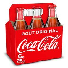 COCA-COLA Boisson gazeuse Original aux extraits végétaux bouteille en verre 6x25cl