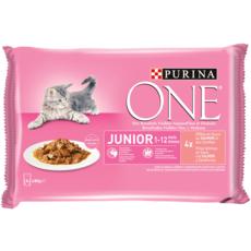 PURINA One sachets repas saumon carottes pour chaton 4x85g
