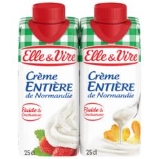 ELLE & VIRE Crème fluide entière 30%MG UHT 2x25cl