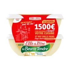 ELLE & VIRE Beurre tendre demi-sel barquette 2x250g