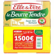 ELLE & VIRE Le Beurre tendre demi-sel 2x250g