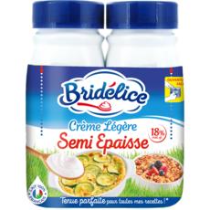BRIDELICE Crème semi-épaisse légère 18%MG UHT 2x25cl