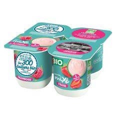 LES 300 & BIO Yaourt mixé à la fraise et à la framboise 4x125g