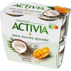 ACTIVIA Yaourt aux fruits mangue, coco et graines de chia sans sucres 4x115g