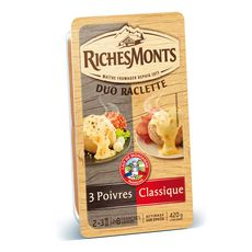 RICHESMONTS Fromage à raclette nature et 3 poivres 2x8 tranches 420g