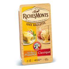 RICHESMONTS Fromage à raclette nature et herbes de Provence 420g