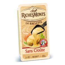 RICHESMONTS Fromage à raclette sans croûte 16 tranches 420g