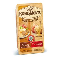 RICHESMONTS Fromage à raclette nature et fumé 2x8 tranches 420g