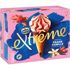 EXTREME Cône glacé à la fraise et vanille 6 pièces 426g