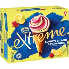 EXTREME Cône glacé sorbet citron framboise 6 pièces 444g