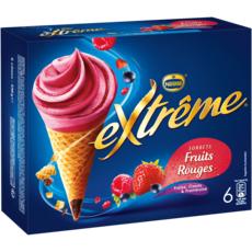 EXTREME Sorbet fruits rouges fraise cassis et framboise 6 pièces 438g