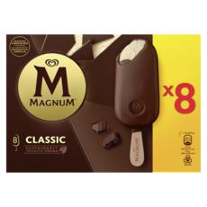 MAGNUM Bâtonnet glacé vanille chocolat au lait 8 pièces 632g