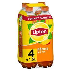 LIPTON Boisson à base de thé saveur pêche 4x1,5l