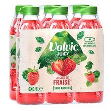 VOLVIC Boisson aromatisée Juicy au jus de fraise bouteilles 6x50cl