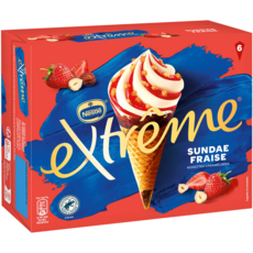 EXTREME Cônes glacés sundae fraise 6 pièces 396g