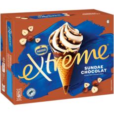 EXTREME Cônes glacés sundae chocolat fondant 6 pièces 396g