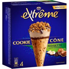 EXTREME Cônes glacés cookie noisette sauce chocolat 4 pièces 284g