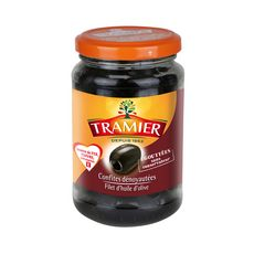 TRAMIER Olives noires confites dénoyautées égouttées sans conservateur 150g
