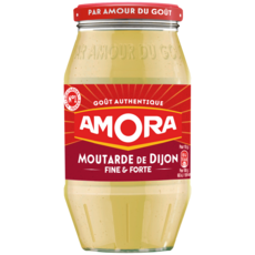 AMORA Moutarde de Dijon fine et forte fabriqué en France en bocal 440g