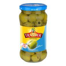 TRAMIER Olives vertes dénoyautées natures sans conservateur -25% de sel 160g