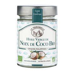 LA TOURANGELLE Huile vierge de noix de coco bio extraite à froid cuisine et cosmétique 31,4cl