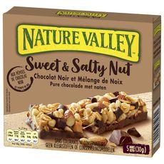 NATURE VALLEY Sweet & Salty Nut barres de céréales au chocolat noir, cacahuètes, amandes 5 barres 150g