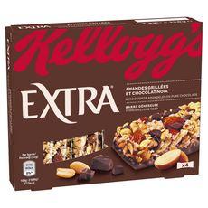 EXTRA Barres de céréales amandes grillées et chocolat 4 barres 128g
