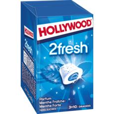 HOLLYWOOD 2 fresh chewing-gums sans sucres menthe fraîche et forte 3x10 dragées 66g