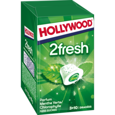 HOLLYWOOD 2 fresh chewing-gums sans sucres menthe verte et chlorophylle 3x10 dragées 66g