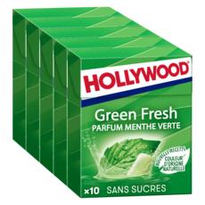 HOLLYWOOD Green fresh chewing-gums sans sucres menthe verte 5x10 dragées 70g