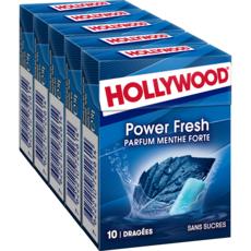 HOLLYWOOD Powerfresh chewing-gums sans sucres menthe forte 5x10 dragées 70g