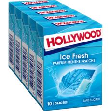 HOLLYWOOD Ice fresh chewing-gums sans sucres menthe fraîche 5x10 dragées 70g