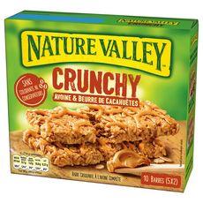 NATURE VALLEY Barres de céréales crunchy avoine et beurre de cacahuètes 10 barres 210g