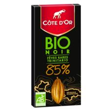 COTE D'OR Tablette de chocolat noir bio 85% fèves rares trinitario 1 pièce 90g