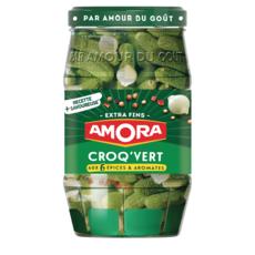 AMORA Croq'Vert cornichons extra fins aux 6 épices et aromates 205g